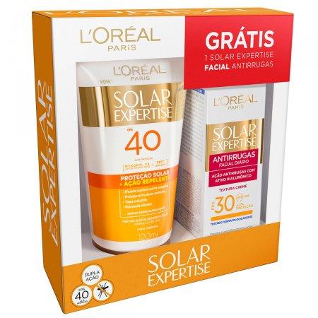 Kit L'oreal Loção Repelente Solar FPS40 + Protetor Solar Facial Antirrugas FPS30