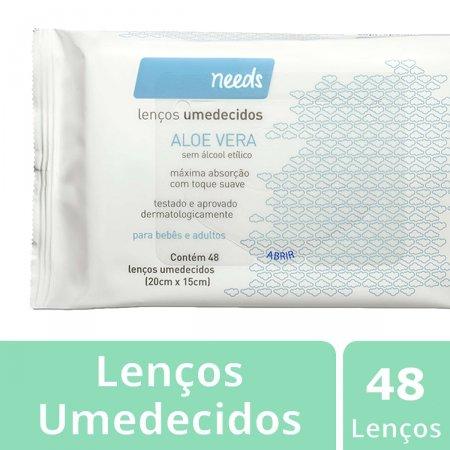 Lenço Umedecido Needs Aloe Vera com 48 unidades