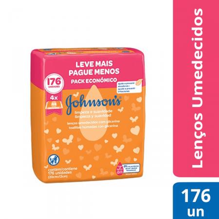 Kit Lenços Umedecidos Johnson's Limpeza e Suavidade com 4 pacotes de 44 unidades