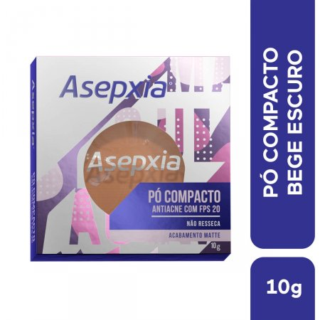 Pó Compacto Asepxia Antiacne Cor Bege Escuro FPS20
