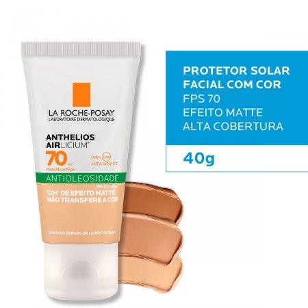 Protetor Solar Facial Com Cor Antioleosidade La Roche-Posay Anthelios Airlicium Pele Clara FPS 70 com 40g