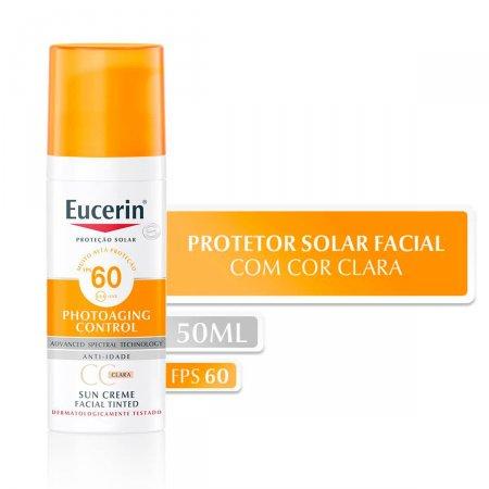 Protetor Solar Facial Eucerin Sun CC Cream Claro FPS60 com 50ml