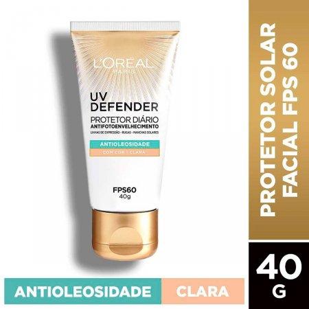 Protetor Solar Facial L'Oréal UV Defender Antioleosidade Cor Clara FPS 60 com 40g