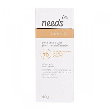 Protetor Solar Facial Needs Beauty Bege Médio FPS70