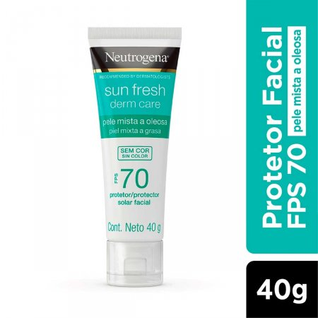 Protetor Solar Neutrogena Sun Fresh Derm Care FPS 70 Facial Pele Mista a Oleosa com 40g