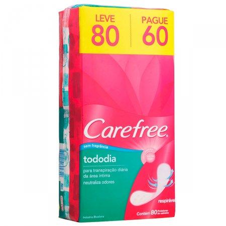 Protetor Diário Carefree Todo Dia sem Perfume Leve 80 Pague 60 Unidades