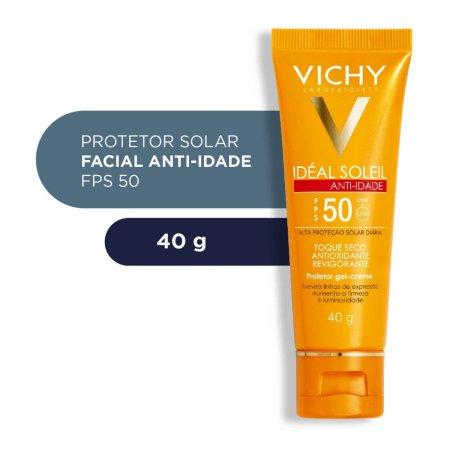 Protetor Solar Facial Vichy Idéal Soleil Anti-Idade Toque Seco FPS 50 com 40g