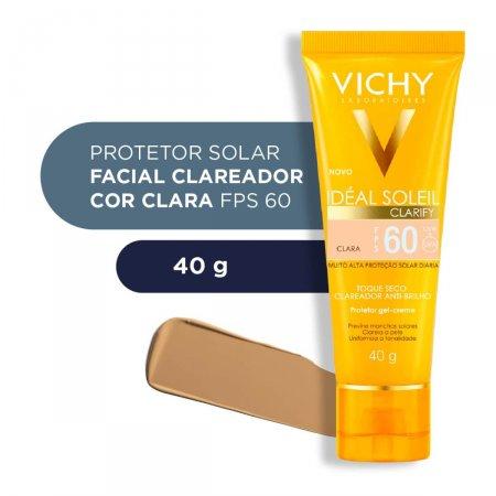 Protetor Solar Facial Vichy Idéal Soleil Clarify Cor Clara FPS 60 com 40g