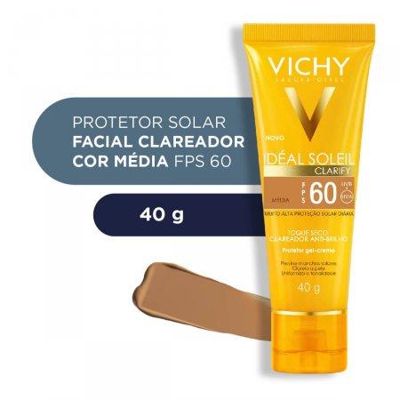Protetor Solar Facial Vichy Idéal Soleil Clarify Cor Média FPS 60 com 40g
