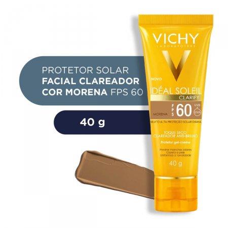 Protetor Solar Facial Vichy Idéal Soleil Clarify Cor Morena FPS 60 com 40g