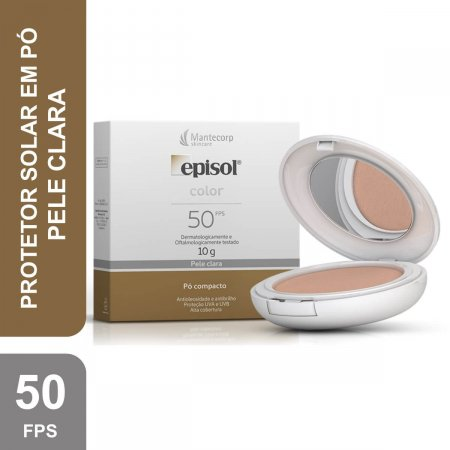 Protetor Solar Pó Compacto Episol Color Pele Clara FPS50
