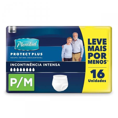 Roupa Íntima Plenitud Protect Plus P/M com 16 Unidades