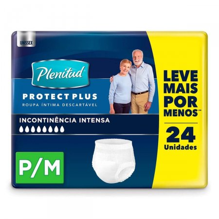 Roupa Íntima Descartável Plenitud Protect Plus P/M com 24 Unidades