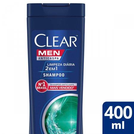 Shampoo Anticaspa Clear Men Limpeza Diária 2 em 1 com 400ml