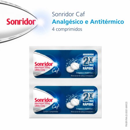 Sonridor Caf 500mg + 65mg com 4 comprimidos efervescentes