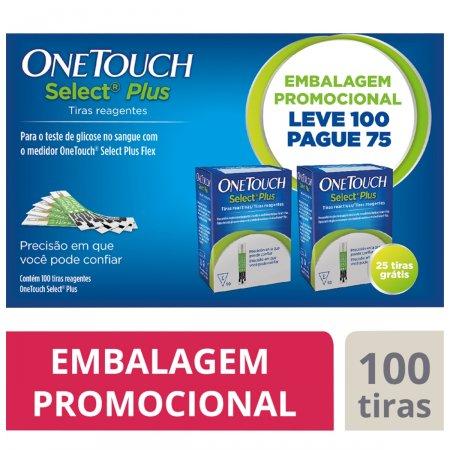 Tiras Teste de Glicemia One Touch Select Plus com 100 unidades