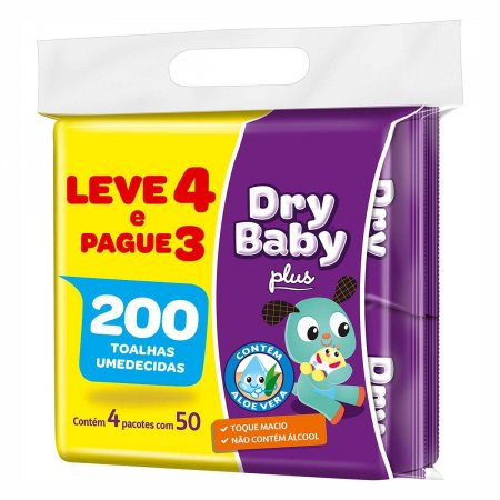 Toalha Umedecida Dry Baby com 200 Unidades