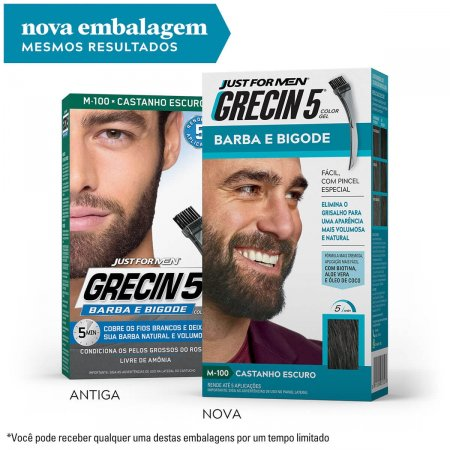 Tonalizante Grecin 5 Just For Men Color Gel Barba e Bigode Castanho Escuro com 1 Unidade